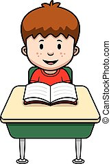 A cartoon illustration of a student at a desk in school.