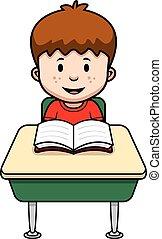 Cartoon Student - A cartoon illustration of a student at a...