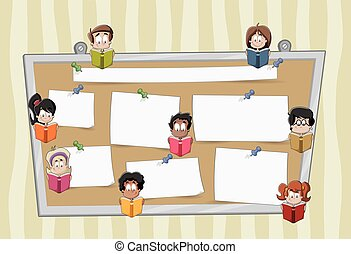 Cartoon student children reading books over a big board with papers.
