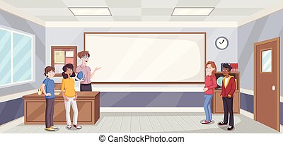 Cartoon students in classroom with teacher.