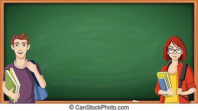 Cartoon students in front of a green chalkboard blackboard.