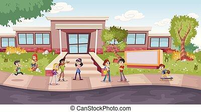 Cartoon students in front of school
