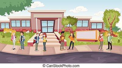 Cartoon students in front of school building.