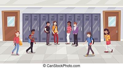 Cartoon students in school corridor.