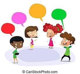 Cartoon students talking outdoors of school. Vector