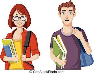 Cartoon students.
