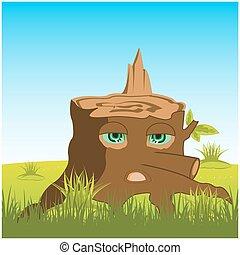 Cartoon stump with eye