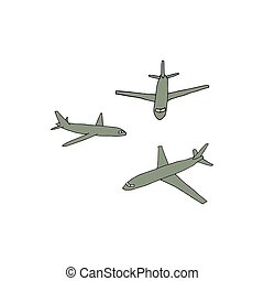 Cartoon style airplanes. Hand drawn vector illustration on a white background.