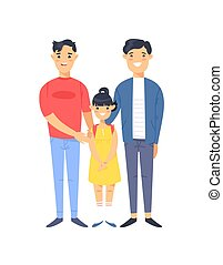Cartoon style asian people. Hand drawn vector illustration Gays Couple and daughter. Characters isolated on white background