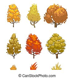 Cartoon style autumn trees and grass isolated on white background