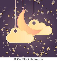 Cartoon style background with stars, moon and clouds