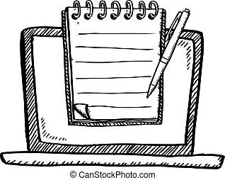 Cartoon style black and white doodle of notebook with notebook and pen on screen