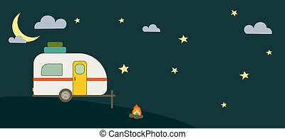 Cartoon Style Camper Trailer and Night Sky Banner