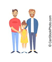 Cartoon style caucasian gays people. Hand drawn vector illustration Gays Couple and daughter. Characters isolated on white background