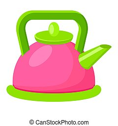 Cartoon Style Colorful Kettle Vector Illustration