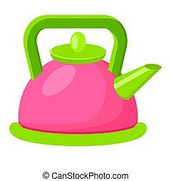 Cartoon Style Colorful Kettle Vector Illustration