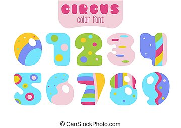 Cartoon style colorful numbers 0, 1, 2, 3, 4, 5, 6, 7, 8, 9