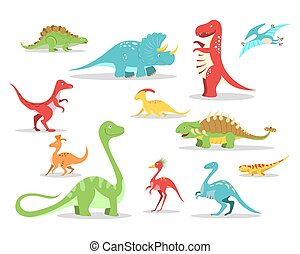 Cartoon style dinosaurs collection. Cute prehistoric characters set.