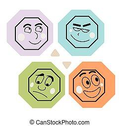 Cartoon style emoji set. Happy, sad, grinning, laughing faces