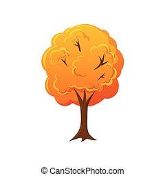 Cartoon style fall, autumn tree