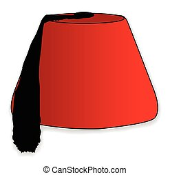 A cartoon style red fez hat isolated on a white background