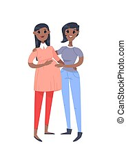Cartoon style gays people. Hand drawn vector illustration Lesbians Couple. African american Characters isolated on white background