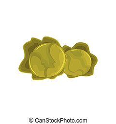 Cartoon style green heads of cabbage vegetables