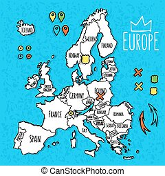 Cartoon style hand drawn travel map of Europe with pins vector illustration