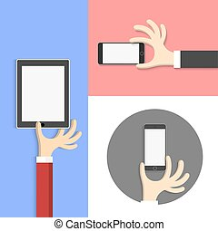 Cartoon style - hands with tablet (pc) and smartphone