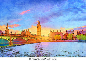 Cartoon style illustration of Big Ben and Westminster Bridge, London, the UK