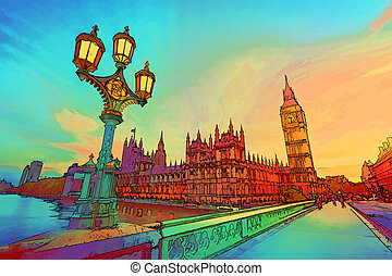Cartoon style illustration of Big Ben seen from Westminster Bridge, London, the UK