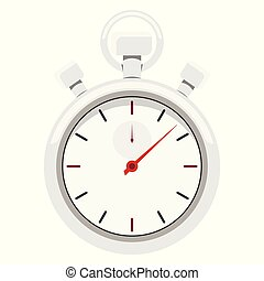 Cartoon style image of a chrome metal sports stopwatch with red arrow.