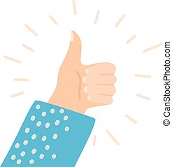 Cartoon style image of a hand with a raised thumb. The sign is good. Thumb up symbol, finger up icon vector illustration. Like sign.