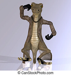 Cartoon style lizard with a lovely
