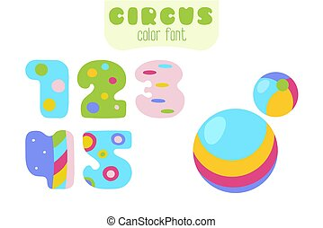 Cartoon style numbers 1, 2, 3, 4, 5 and balls
