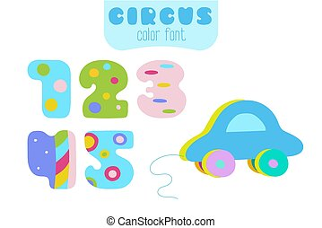 Cartoon style numbers 1, 2, 3, 4, 5 and blue toy car