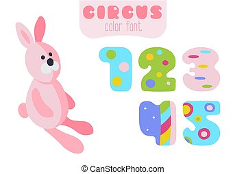 Cartoon style numbers 1, 2, 3, 4, 5 and pink rabbit