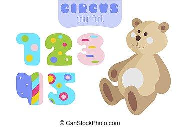 Cartoon style numbers 1, 2, 3, 4, 5 and teddy bear