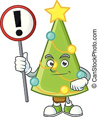 Cartoon style of christmas tree decoration with sign in his hand
