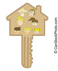 cartoon style of family key
