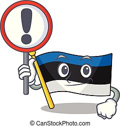Cartoon style of flag estonia With sign in his hand