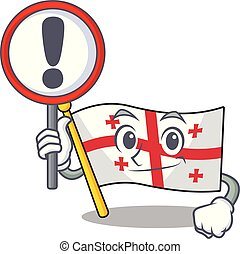 Cartoon style of flag georgia with sign in his hand