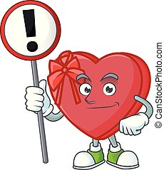 Cartoon style of love gift box with sign in his hand