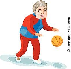 Cartoon style old woman