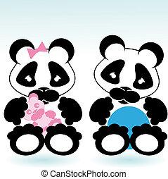 panda boy and girl - cartoon style panda boy and girl with...