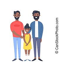 Cartoon style people. Hand drawn vector illustration Gays Couple and daughter. African american Characters isolated on white background