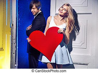 Cartoon style portrait of a couple