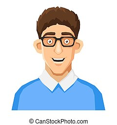 Cartoon Style Portrait of Nerd with Glasses and Blue Pullover. Vector