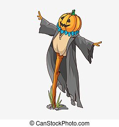 Cartoon style scarecrow isolated