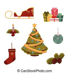Cartoon style set of Christmas decorations